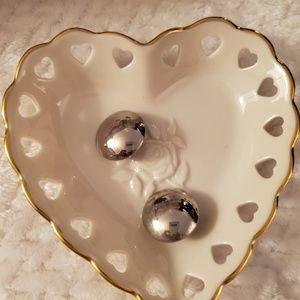 Silver button Vintage earrings post